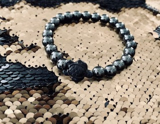Black Titanium and Hematite Beads Turtle Bracelet - $45.00