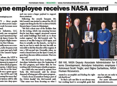 Aerodyne Industries Clifton McCormick to receive NASA's Space Flight Awareness Award