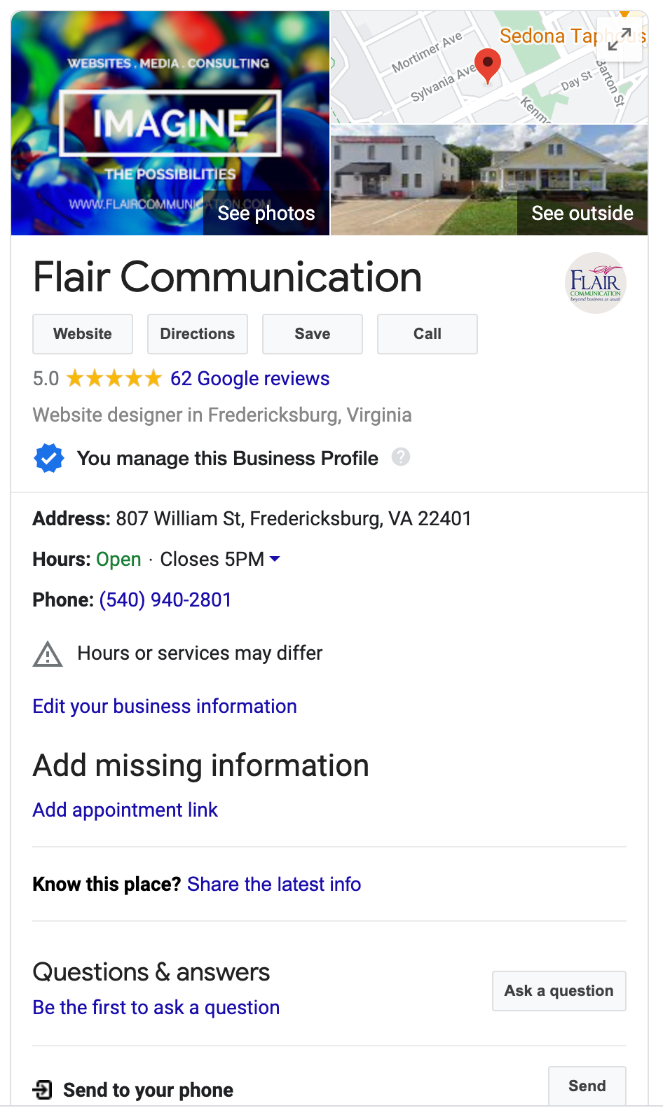 Flair Communication Google My Business Experts