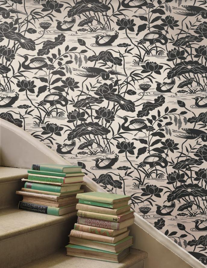 Wallpaper with Bird Design Courtesy of Kravet