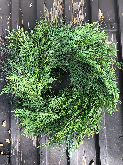 24 inch Mixed Greens Wreath