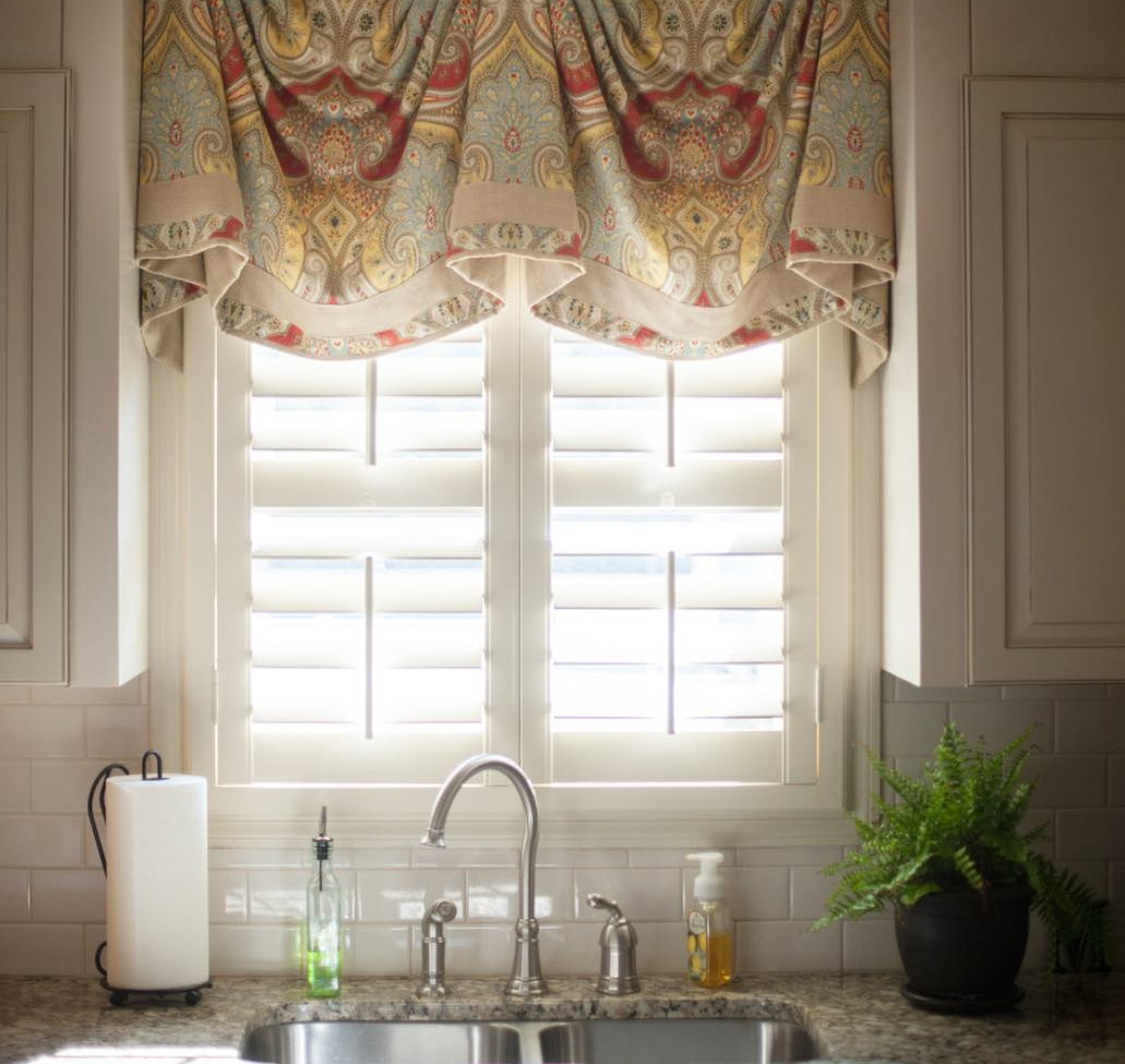 Window Valance with Plantation Shutters
