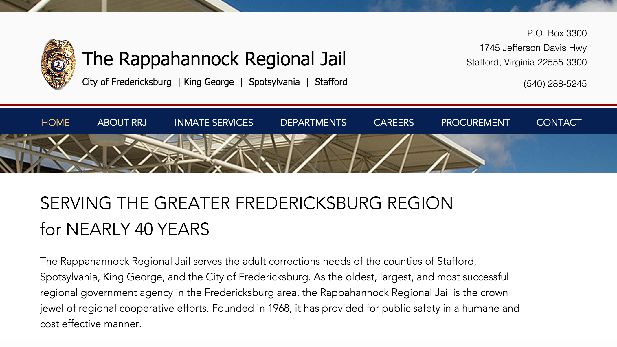 Home | Rappahannock Regional Jail | Stafford, Virginia