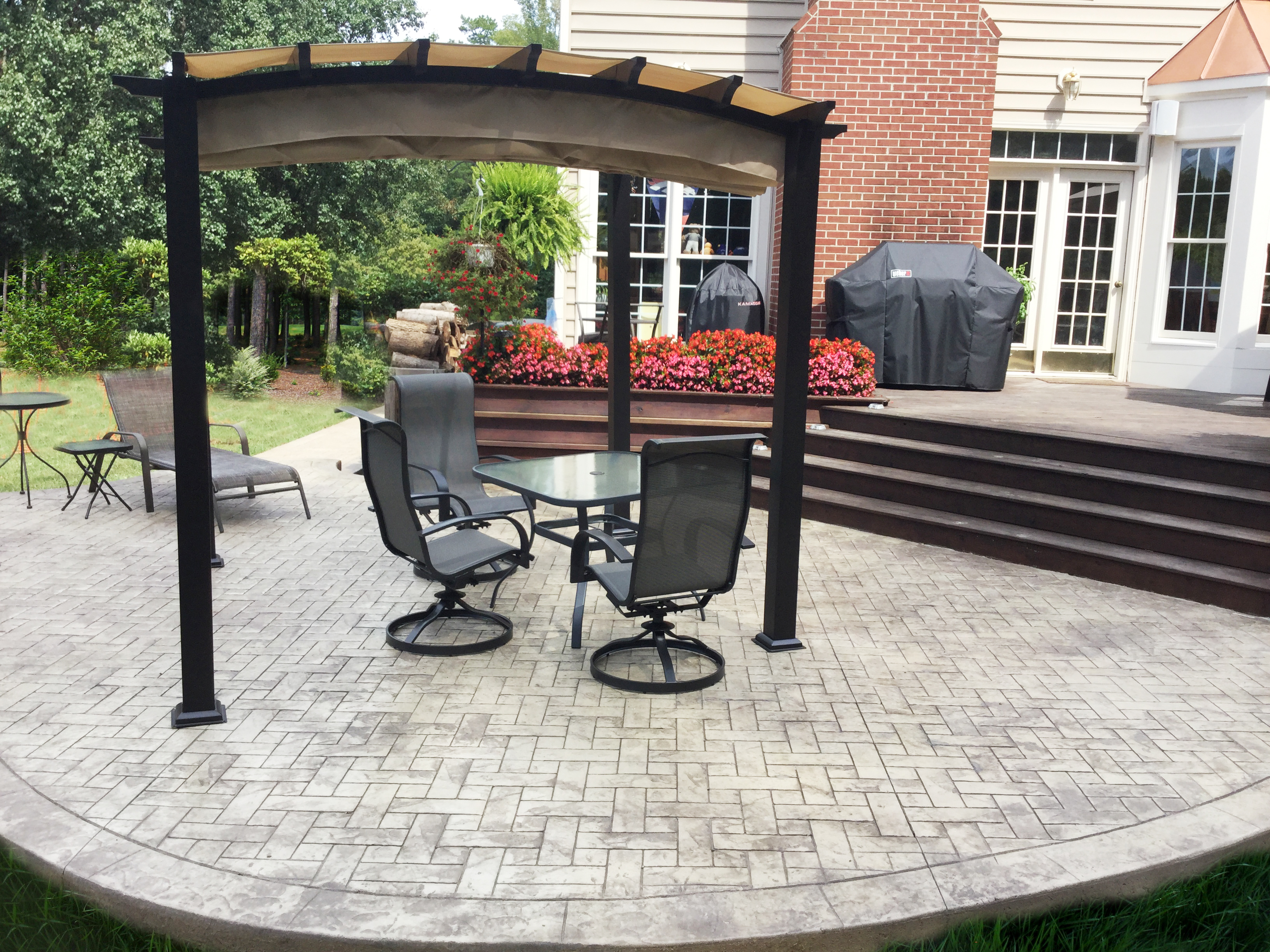 stamped concrete and pergolas