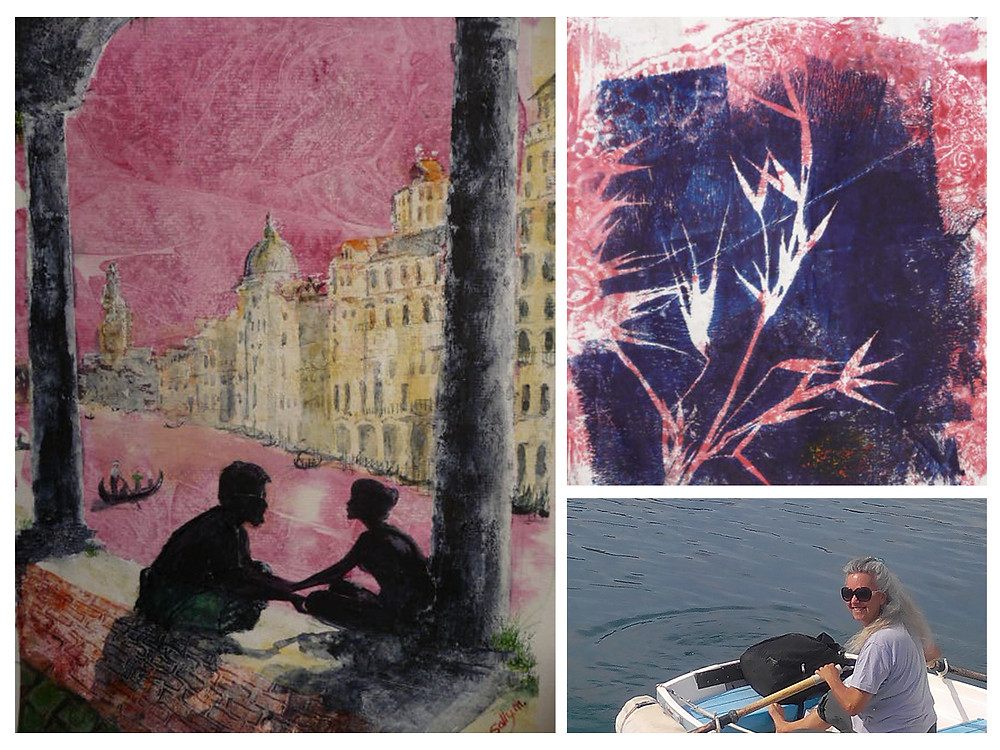 Proposal in Venice, printing with gelli plate and rowing home to Ron Glas