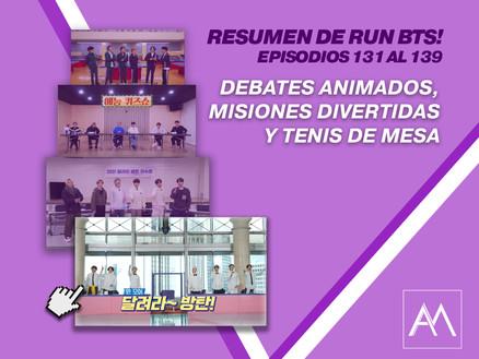 Resumen de Run BTS!: episodios 131 al 139 Debates animados, misiones divertidas y tenis de mesa