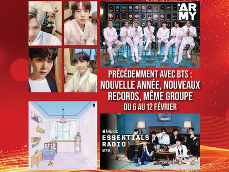 Précédemment avec BTS : Nouvelle Année, nouveaux records, même groupe 6-12 février