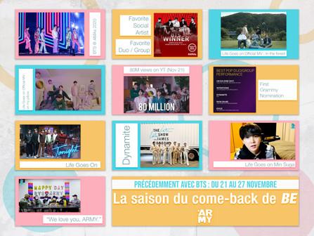 Précédemment avec BTS : La saison du come-back de BE Du 21 au 27 novembre