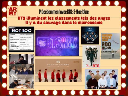 Précédemment avec BTS : 3-9 octobre