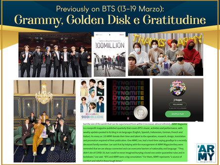 Previously on BTS: Grammy, Golden Disk e Gratitudine 13-19 Marzo