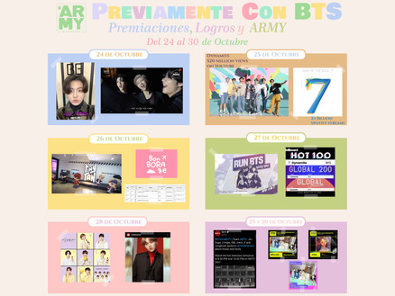 Previamente con BTS: premiaciones, logros y ARMY. Del 24 al 30 de octubre