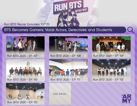 Run BTS! Recap Episodes 107-113 BTS Becomes Gamers, Voice Actors, Detectives, and Students