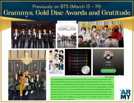 Previously on BTS: Grammys, Gold Disc Awards, and Gratitude March 13-19