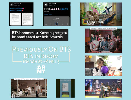 Previously on BTS: BTS in Bloom March 27 - April 3