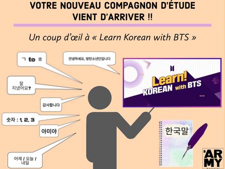 VOTRE NOUVEAU COMPAGNON D'ÉTUDE VIENT D'ARRIVER !! Un coup d'œil à « Learn Korean with BTS »