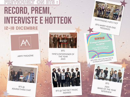 Previously on BTS: Record, premi, interviste e hotteok12-18 dicembre
