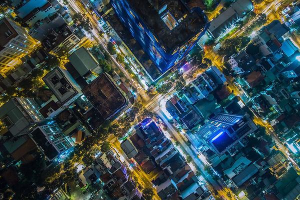 Drone Aerial Photo City night
