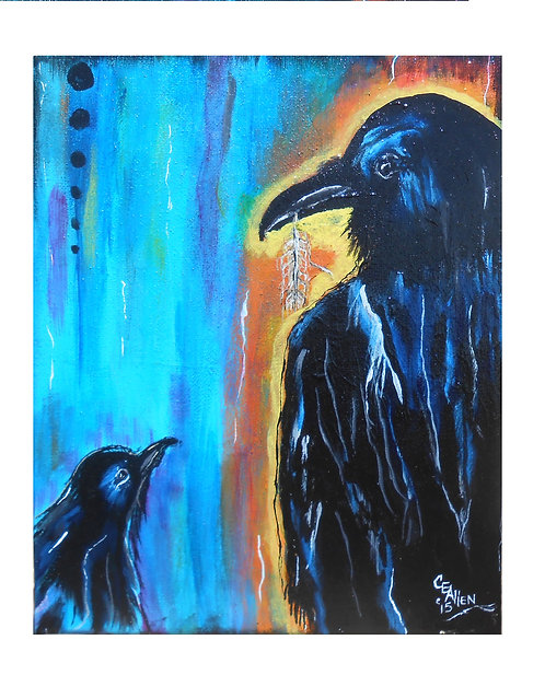 "Raven Stole Crow's Food    Blank Inside Set of 5 cards & envelopes $17 5"" x 7"""