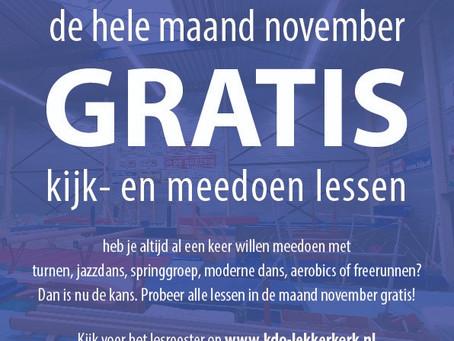 November gratis sporten!!!!