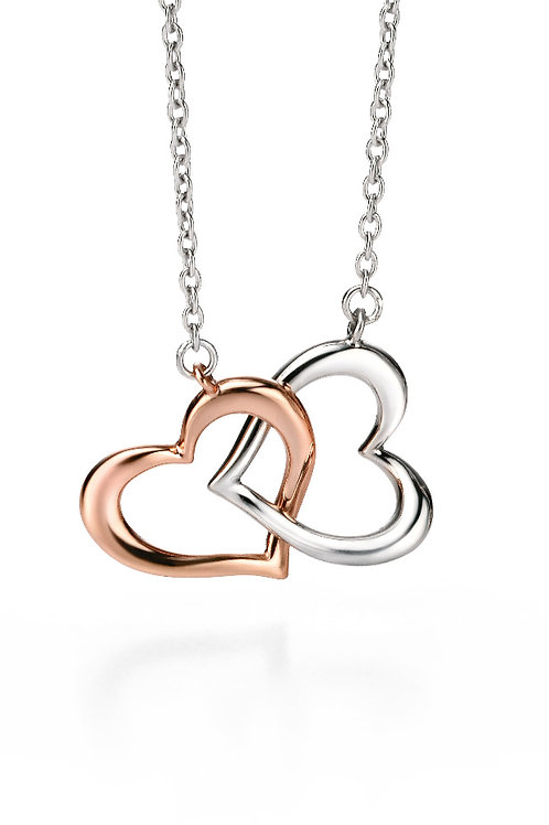 Fiorelli Silver and Rose Gold plated Double Heart Pendant and Chain