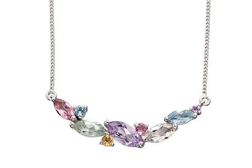 9ct White Gold and Semi-Precious Stones Necklace