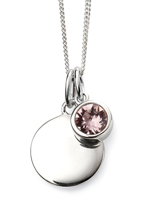 Silver and Swarovski Crystal Engravable Pendant and Chain - June Birthstone