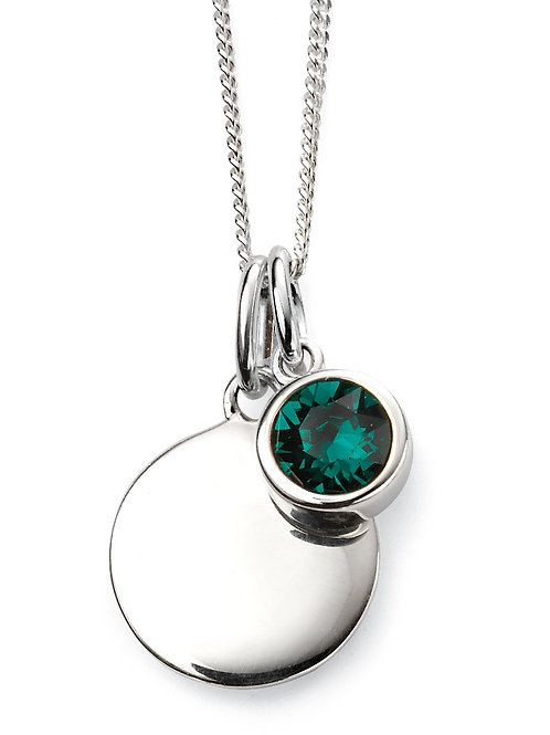 Silver and Swarovski Crystal Engravable Pendant and Chain - May Birthstone