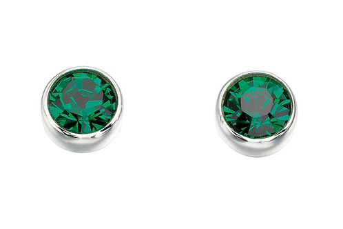 Silver and Crystal by Swarovski Earrings - May Birthstone