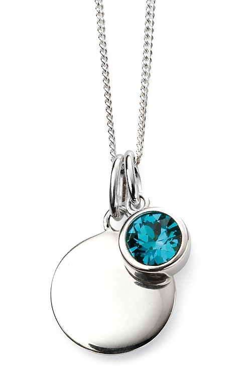 Silver and Swarovski Crystal Engravable Pendant and Chain - December Birthstone