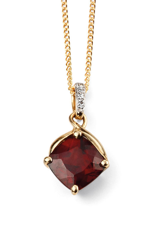 9ct Gold Garnet and Diamond Pendant and Chain
