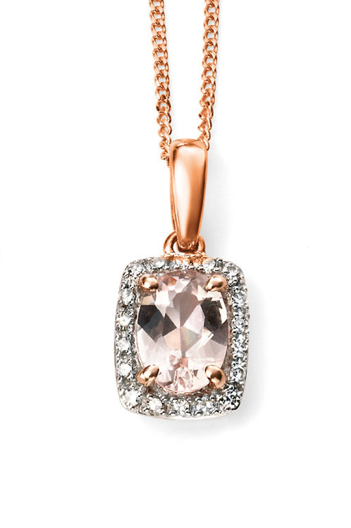 9ct Rose Gold Morganite and Diamond Pendant and Chain