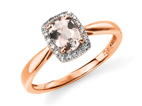 9ct Rose Gold Pink Morganite and Diamond Ring