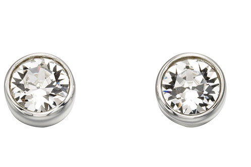 Silver and Crystal by Swarovski Earrings - April Birthstone