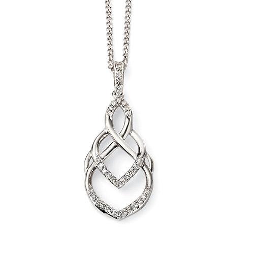 9ct White Gold Diamond Pendant and Chain