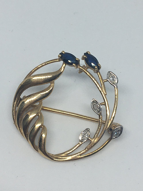 9ct Gold Sapphire and Diamond Brooch