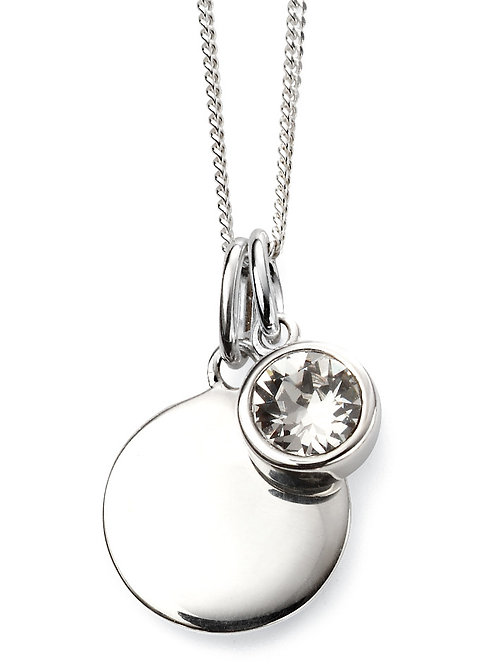 Silver and Swarovski Crystal Engravable Pendant and Chain - April Birthstone