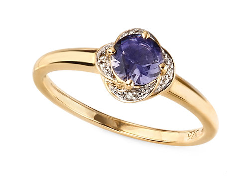 9ct Gold Iolite and Diamond Ring