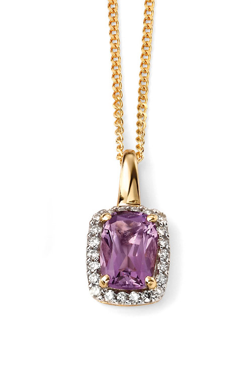 9ct Gold Amethyst and Diamond Pendant and Chain