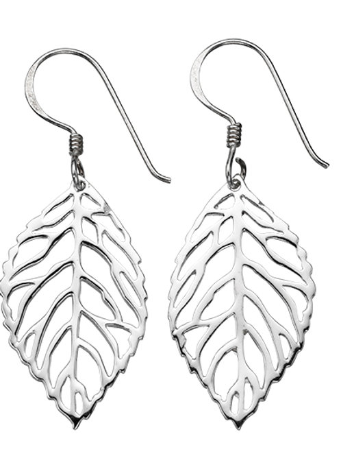 Silver Leaves Drop Earrings