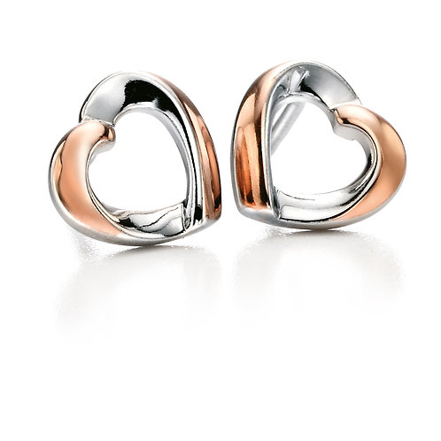 Fiorelli Silver and Rose Gold plated Heart Earrings