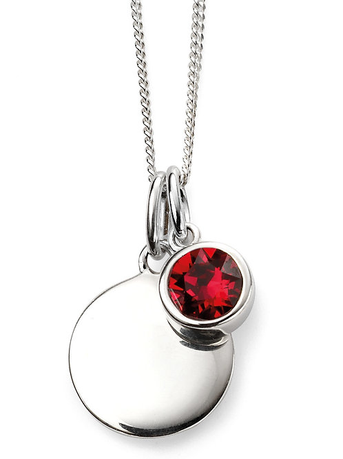Silver and Swarovski Crystal Engravable Pendant and Chain - July Birthstone