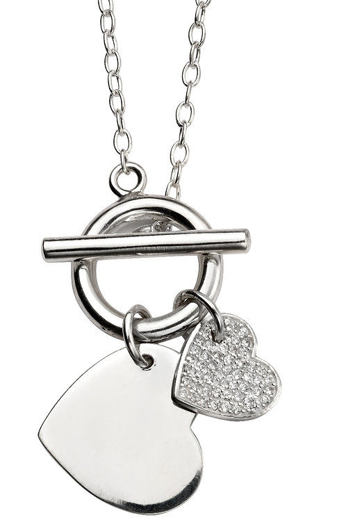 Silver with Cubic Zirconia Pendant and Chain