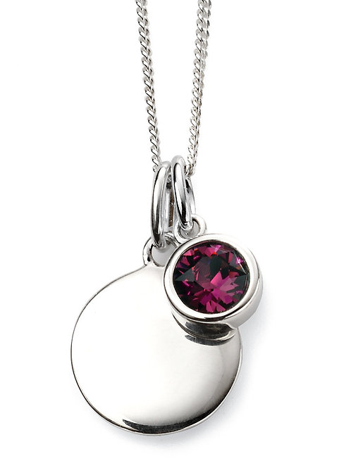 Silver and Swarovski Crystal Engravable Pendant and Chain - February Birthstone