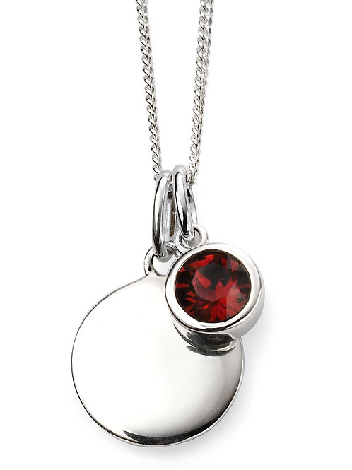 Silver and Swarovski Crystal Engravable Pendant and Chain - January Birthstone