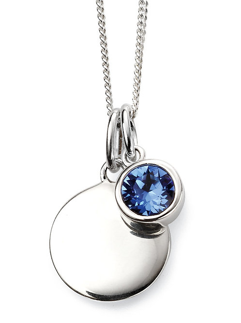 Silver and Swarovski Crystal Engravable Pendant and Chain - September Birthstone