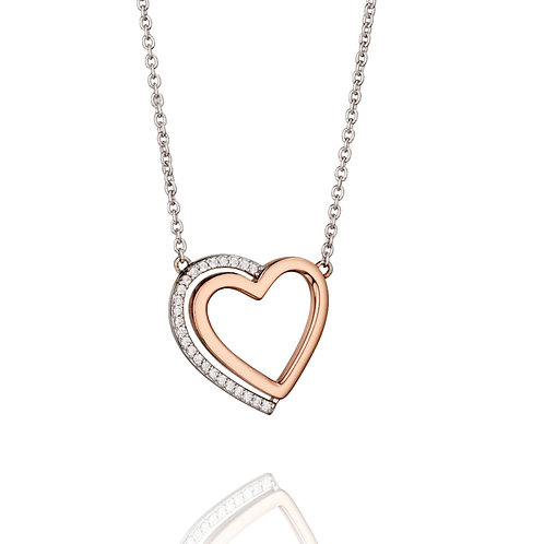 Fiorelli Silver and Rose Gold plated with Cubic Zirconia Pendant and Chain