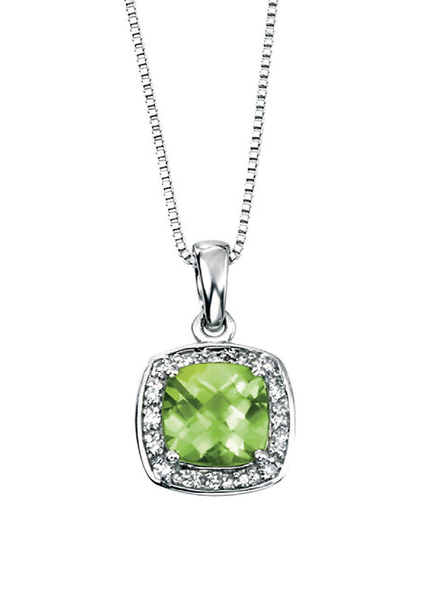 9ct White Gold Peridot and Diamond Pendant and Chain