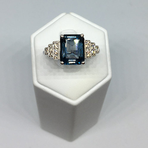9ct White Gold Diamond and London Blue Topaz Ring
