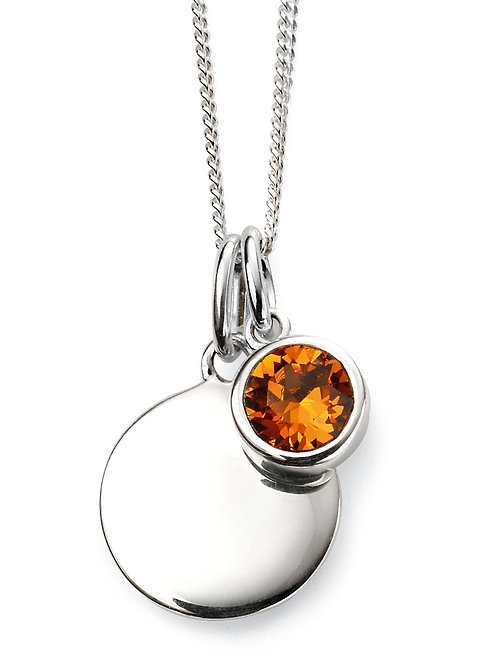Silver and Swarovski Crystal Engravable Pendant and Chain - November Birthstone