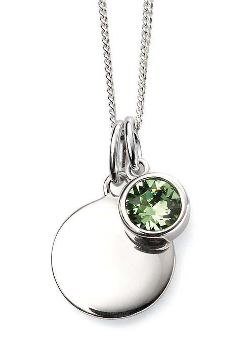 Silver and Swarovski Crystal Engravable Pendant and Chain - August Birthstone